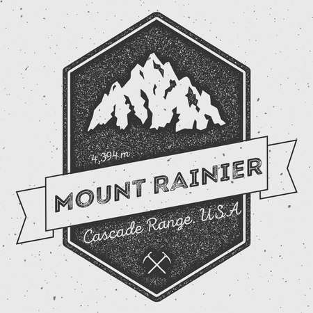 Mount Rainier in Cascade Range, USA outdoor adventure logo. Pennant expedition vector insignia. Climbing, trekking, hiking, mountaineering and other extreme activities logo template.