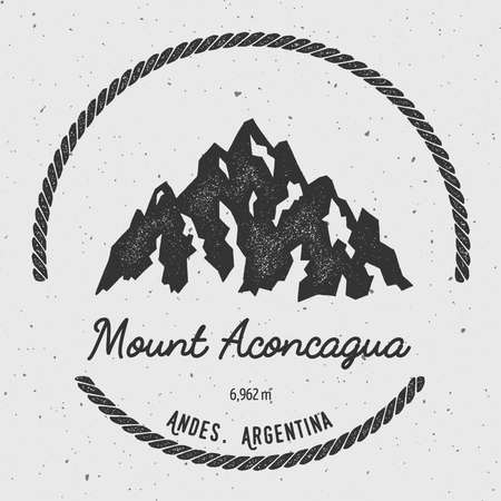 unusual: Aconcagua in Andes, Argentina outdoor adventure logo. Round hiking vector insignia. Climbing, trekking, hiking, mountaineering and other extreme activities logo template.