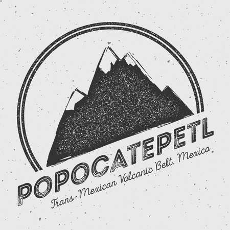 mountaineering: Popocatepetl in Trans-Mexican Volcanic Belt, Mexico outdoor adventure logo. Round mountain vector insignia. Climbing, trekking, hiking, mountaineering and other extreme activities logo template.