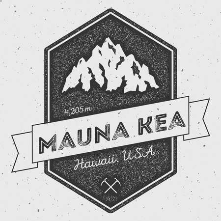 Mauna Kea in Hawaii, USA outdoor adventure logo. Pennant expedition vector insignia. Climbing, trekking, hiking, mountaineering and other extreme activities logo template.