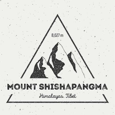 Shishapangma in Himalayas, Tibet outdoor adventure logo. Triangular mountain vector insignia. Climbing, trekking, hiking, mountaineering and other extreme activities logo template. Illustration