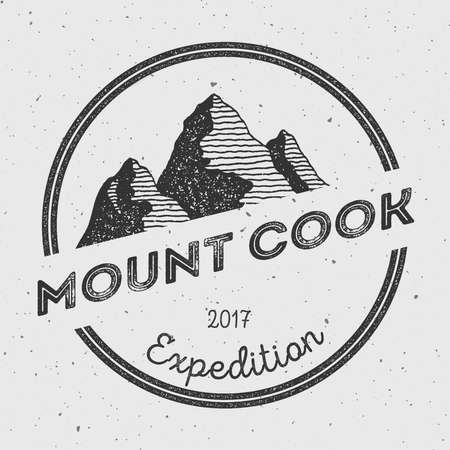 oceania: Cook in Southern Alps, New Zealand outdoor adventure logo. Round expedition vector insignia. Climbing, trekking, hiking, mountaineering and other extreme activities logo template.