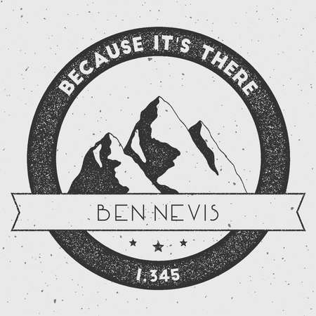 exploring: Ben Nevis in Grampian Mountains, Great Britain outdoor adventure logo. Round climbing vector insignia. Climbing, trekking, hiking, mountaineering and other extreme activities logo template. Illustration