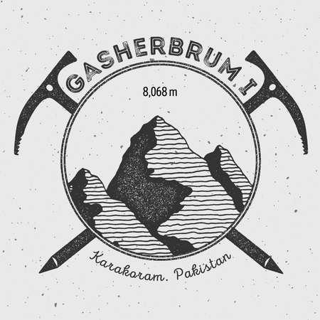 scaling: Gasherbrum I in Karakoram, Pakistan outdoor adventure logo. Climbing mountain vector insignia. Climbing, trekking, hiking, mountaineering and other extreme activities logo template.