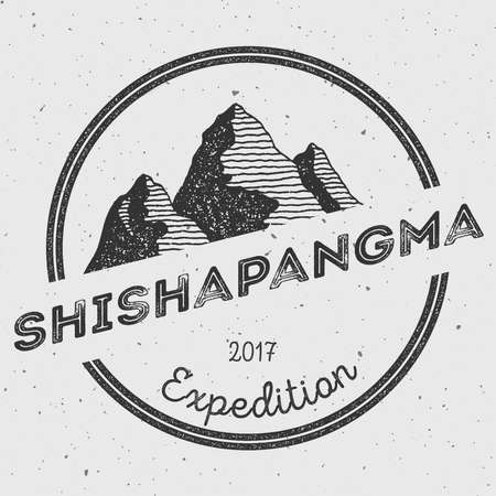 mountaineering: Shishapangma in Himalayas, Tibet outdoor adventure logo. Round expedition vector insignia. Climbing, trekking, hiking, mountaineering and other extreme activities logo template.