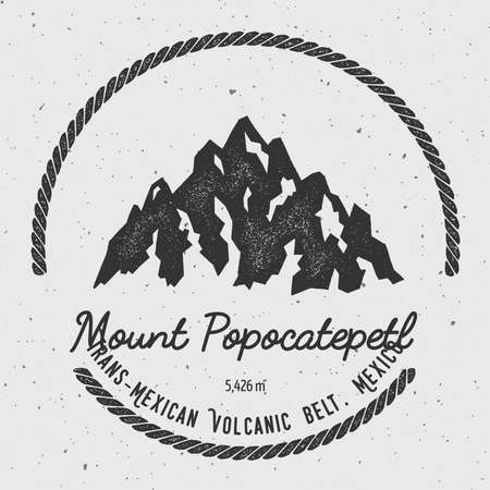 Popocatepetl in Trans-Mexican Volcanic Belt, Mexico outdoor adventure logo. Round hiking vector insignia. Climbing, trekking, hiking, mountaineering and other extreme activities logo template.