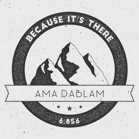 scrambling: Ama Dablam in Himalayas, Nepal outdoor adventure logo. Round climbing vector insignia. Climbing, trekking, hiking, mountaineering and other extreme activities logo template.