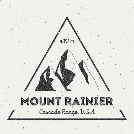Rainier in Cascade Range, USA outdoor adventure logo. Triangular mountain vector insignia. Climbing, trekking, hiking, mountaineering and other extreme activities logo template. Illustration