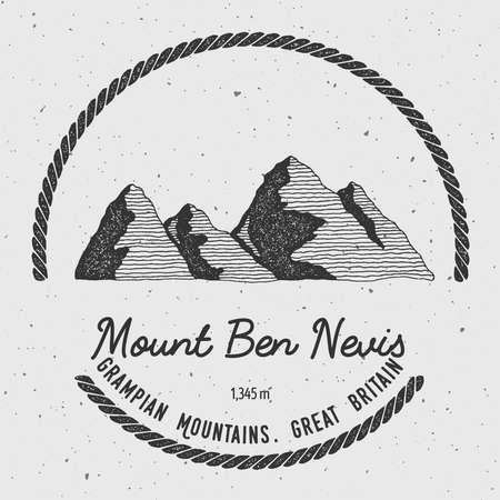 Ben Nevis in Grampian Mountains, Great Britain outdoor adventure logo. Round trekking vector insignia. Climbing, trekking, hiking, mountaineering and other extreme activities logo template. Stock Illustratie