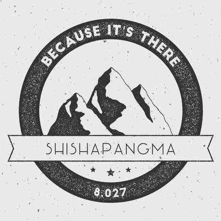 Shishapangma in Himalayas, Tibet outdoor adventure logo. Round climbing vector insignia. Climbing, trekking, hiking, mountaineering and other extreme activities logo template. Illustration