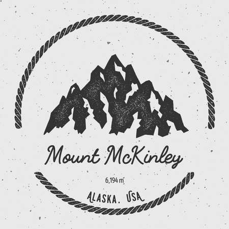 exploring: McKinley in Alaska, USA outdoor adventure logo. Round hiking vector insignia. Climbing, trekking, hiking, mountaineering and other extreme activities logo template.