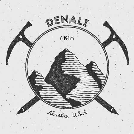 scaling: Denali in Alaska, USA outdoor adventure logo. Climbing mountain vector insignia. Climbing, trekking, hiking, mountaineering and other extreme activities logo template.