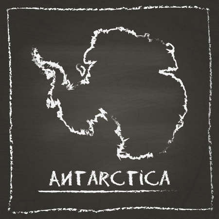 Antarctica outline vector map hand drawn with chalk on a blackboard. Chalkboard scribble in childish style. White chalk texture on black background. Illustration