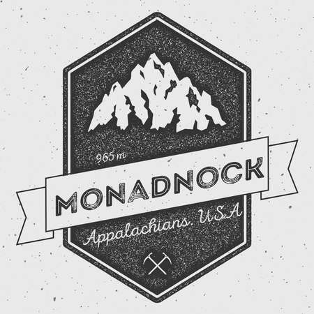 scrambling: Monadnock in Appalachians, USA outdoor adventure logo. Pennant expedition vector insignia. Climbing, trekking, hiking, mountaineering and other extreme activities logo template.