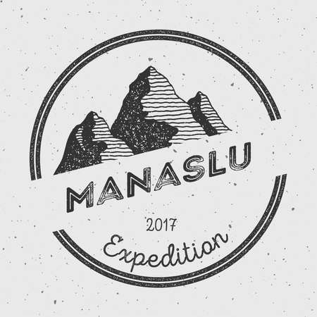 scrambling: Manaslu in Himalayas, Nepal outdoor adventure logo. Round expedition vector insignia. Climbing, trekking, hiking, mountaineering and other extreme activities logo template.