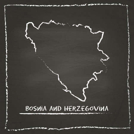herz: Bosnia and Herzegovina outline vector map hand drawn with chalk on a blackboard. Chalkboard scribble in childish style. White chalk texture on black background.