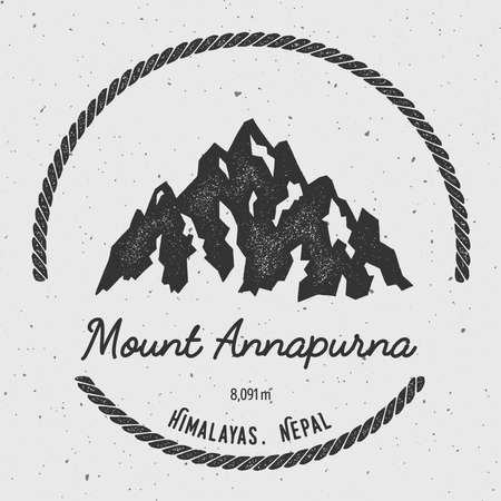 mountaineering: Annapurna in Himalayas, Nepal outdoor adventure logo. Round hiking vector insignia. Climbing, trekking, hiking, mountaineering and other extreme activities logo template.