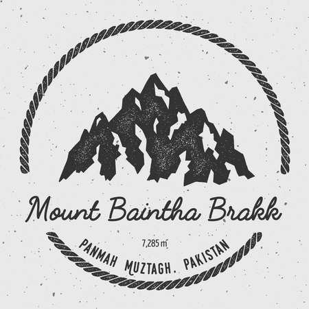 exploring: Baintha Brakk in Panmah Muztagh, Pakistan outdoor adventure logo. Round hiking vector insignia. Climbing, trekking, hiking, mountaineering and other extreme activities logo template.