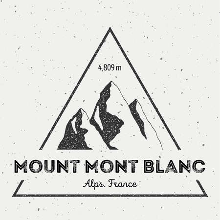 analog: Mont Blanc in Alps, Italy outdoor adventure logo. Triangular mountain vector insignia. Climbing, trekking, hiking, mountaineering and other extreme activities logo template.