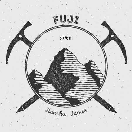 Fuji in Honshu, Japan outdoor adventure logo. Climbing mountain vector insignia. Climbing, trekking, hiking, mountaineering and other extreme activities logo template.