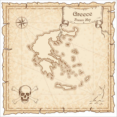 Greece old pirate map. Sepia engraved template of treasure map. Stylized pirate map on vintage paper.
