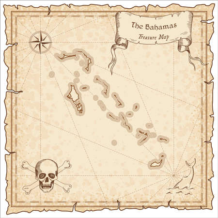 Bahamas old pirate map. Sepia engraved template of treasure map. Stylized pirate map on vintage paper.