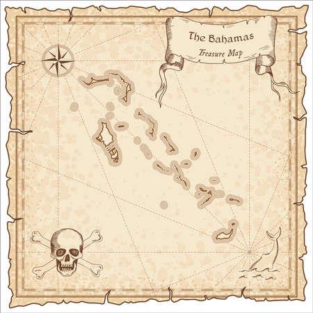 Bahama's oude piratenkaart. Sepia gegraveerde sjabloon van schatkaart. Gestileerde piraatkaart op uitstekend document. Vector Illustratie