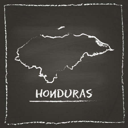 erasing: Honduras outline vector map hand drawn with chalk on a blackboard. Chalkboard scribble in childish style. White chalk texture on black background. Illustration