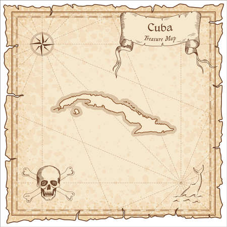 Cuba old pirate map. Sepia engraved template of treasure map. Stylized pirate map on vintage paper. Illustration
