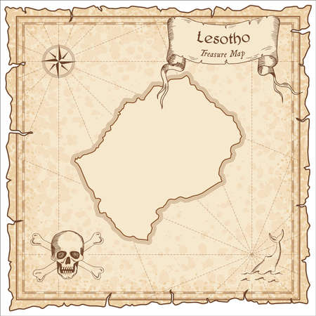 Lesotho old pirate map. Sepia engraved template of treasure map. Stylized pirate map on vintage paper.