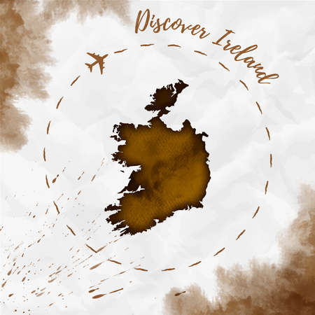 Ireland watercolor map in sepia colors. Discover Ireland poster with airplane trace and handpainted watercolor Ireland map on crumpled paper. Vector illustration.