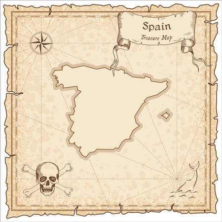 Spain old pirate map. Sepia engraved template of treasure map. Stylized pirate map on vintage paper. Illustration