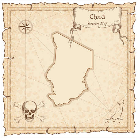 Chad old pirate map. Sepia engraved template of treasure map. Stylized pirate map on vintage paper.
