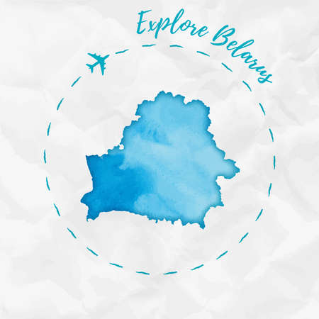 Belarus watercolor map in turquoise colors. Explore Belarus poster with airplane trace and handpainted watercolor Belarus map on crumpled paper. Vector illustration.