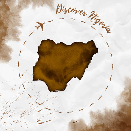 Nigeria watercolor map in sepia colors. Discover Nigeria poster with airplane trace and handpainted watercolor Nigeria map on crumpled paper. Vector illustration.