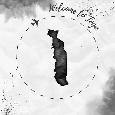 Togo watercolor map in black colors. Welcome to Togo poster with airplane trace and handpainted watercolor Togo map on crumpled paper. Vector illustration.