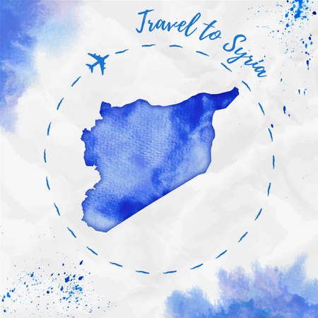 Syria watercolor map in blue colors. Travel to Syria poster with airplane trace and handpainted watercolor Syria map on crumpled paper. Vector illustration.