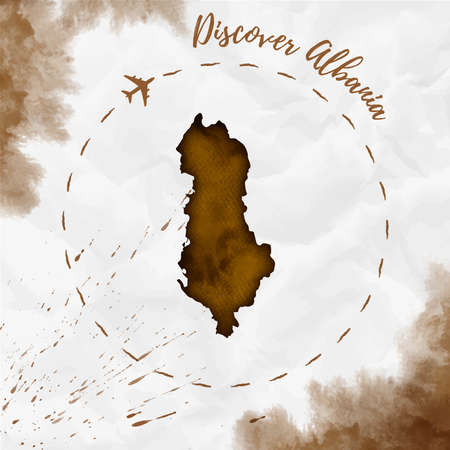 Albania watercolor map in sepia colors. Discover Albania poster with airplane trace and handpainted watercolor Albania map on crumpled paper. Vector illustration. Illustration