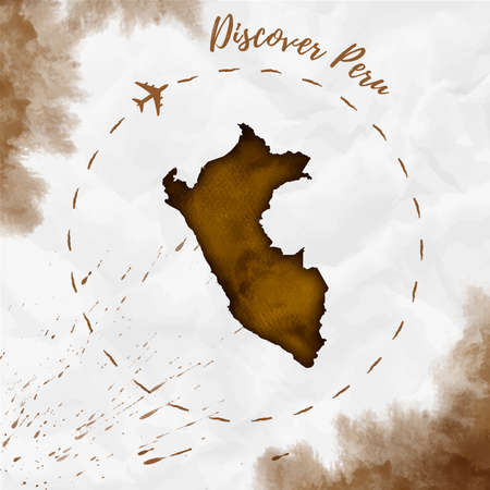 sepia.: Peru watercolor map in sepia colors. Discover Peru poster with airplane trace and handpainted watercolor Peru map on crumpled paper. Vector illustration.