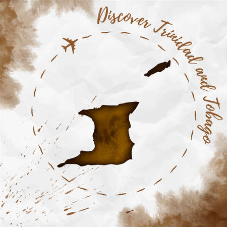 Trinidad and Tobago watercolor map in sepia colors. Discover Trinidad and Tobago poster with airplane trace and handpainted watercolor Trinidad and Tobago map on crumpled paper. Vector illustration.