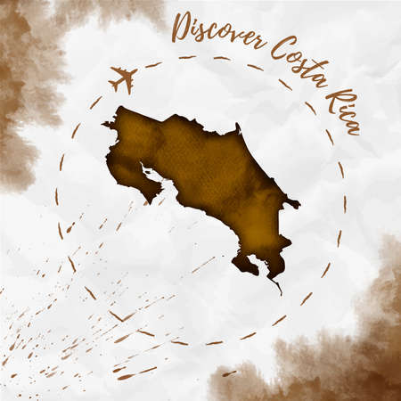 Costa Rica watercolor map in sepia colors. Discover Costa Rica poster with airplane trace and handpainted watercolor Costa Rica map on crumpled paper. Vector illustration. Illustration