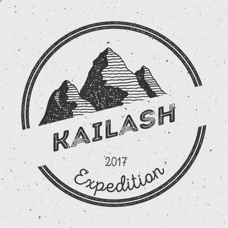 Kailash in Himalayas, Tibet outdoor adventure logo. Round expedition vector insignia. Climbing, trekking, hiking, mountaineering and other extreme activities logo template.