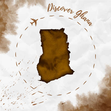 Ghana watercolor map in sepia colors. Discover Ghana poster with airplane trace and handpainted watercolor Ghana map on crumpled paper. Vector illustration.