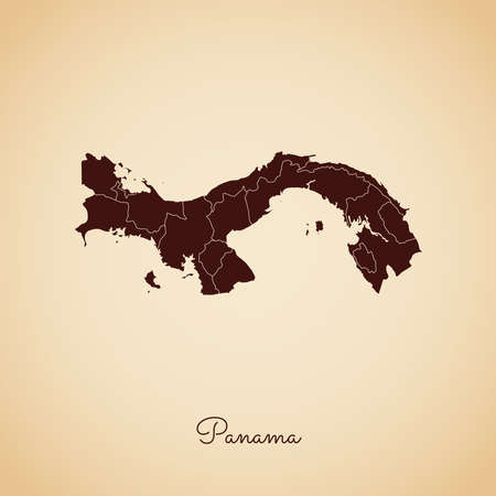 panamanian: Panama region map: retro style brown outline on old paper background. Detailed map of Panama regions. Vector illustration.
