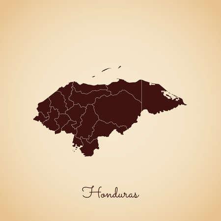 Honduras region map: retro style brown outline on old paper background. Detailed map of Honduras regions. Vector illustration.