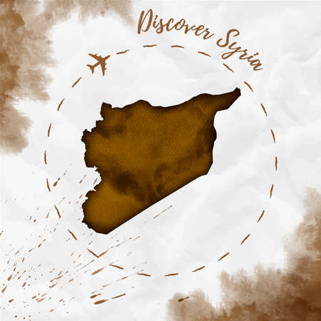Syria watercolor map in sepia colors. Discover Syria poster with airplane trace and handpainted watercolor Syria map on crumpled paper. Vector illustration.