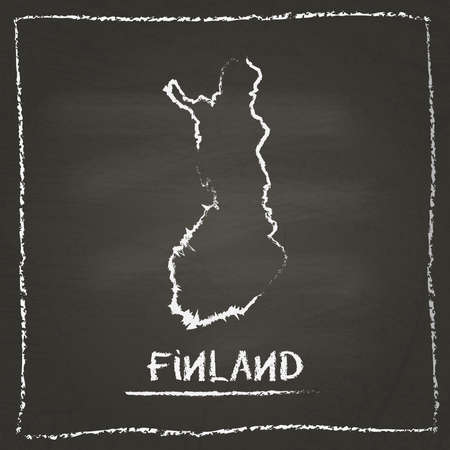 erased: Finland outline vector map hand drawn with chalk on a blackboard. Chalkboard scribble in childish style. White chalk texture on black background. Illustration