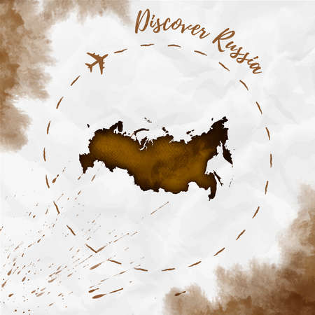 Russia watercolor map in sepia colors. Discover Russia poster with airplane trace and handpainted watercolor Russia map on crumpled paper. Vector illustration. Çizim