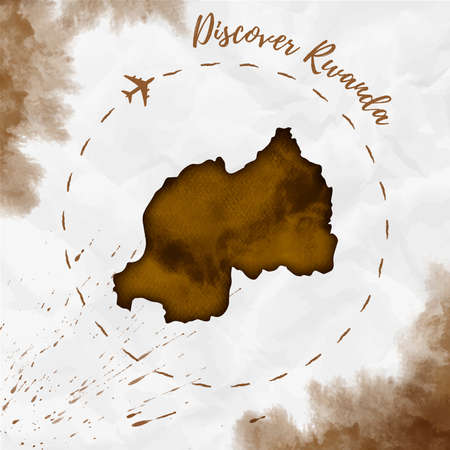 Rwanda watercolor map in sepia colors. Discover Rwanda poster with airplane trace and handpainted watercolor Rwanda map on crumpled paper. Vector illustration. Illustration