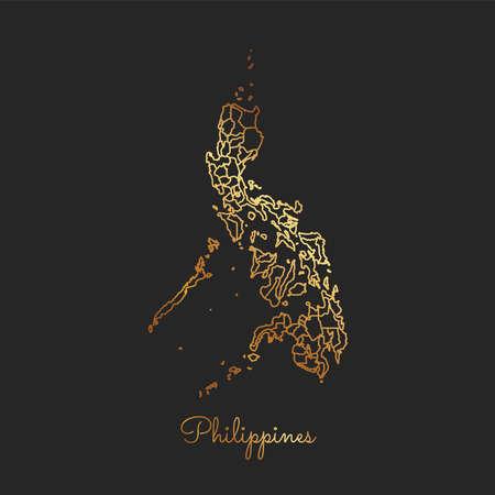 フィリピン地域マップ: 暗い背景に金色の勾配の輪郭。フィリピン地域の詳細地図。ベクトルの図。  イラスト・ベクター素材